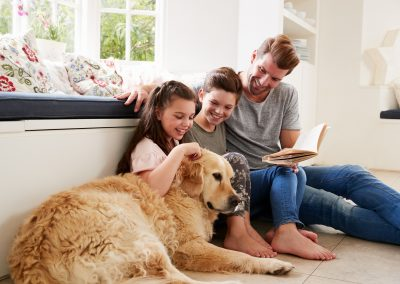 kids with pet in rental property